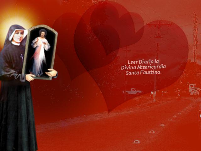 para san valentin una imagen se santa faustina con corazones
