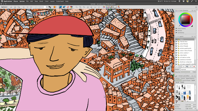 """Detalhe da ilustração """"Terceiro Setor"""", a coloração feita no Gimp."""