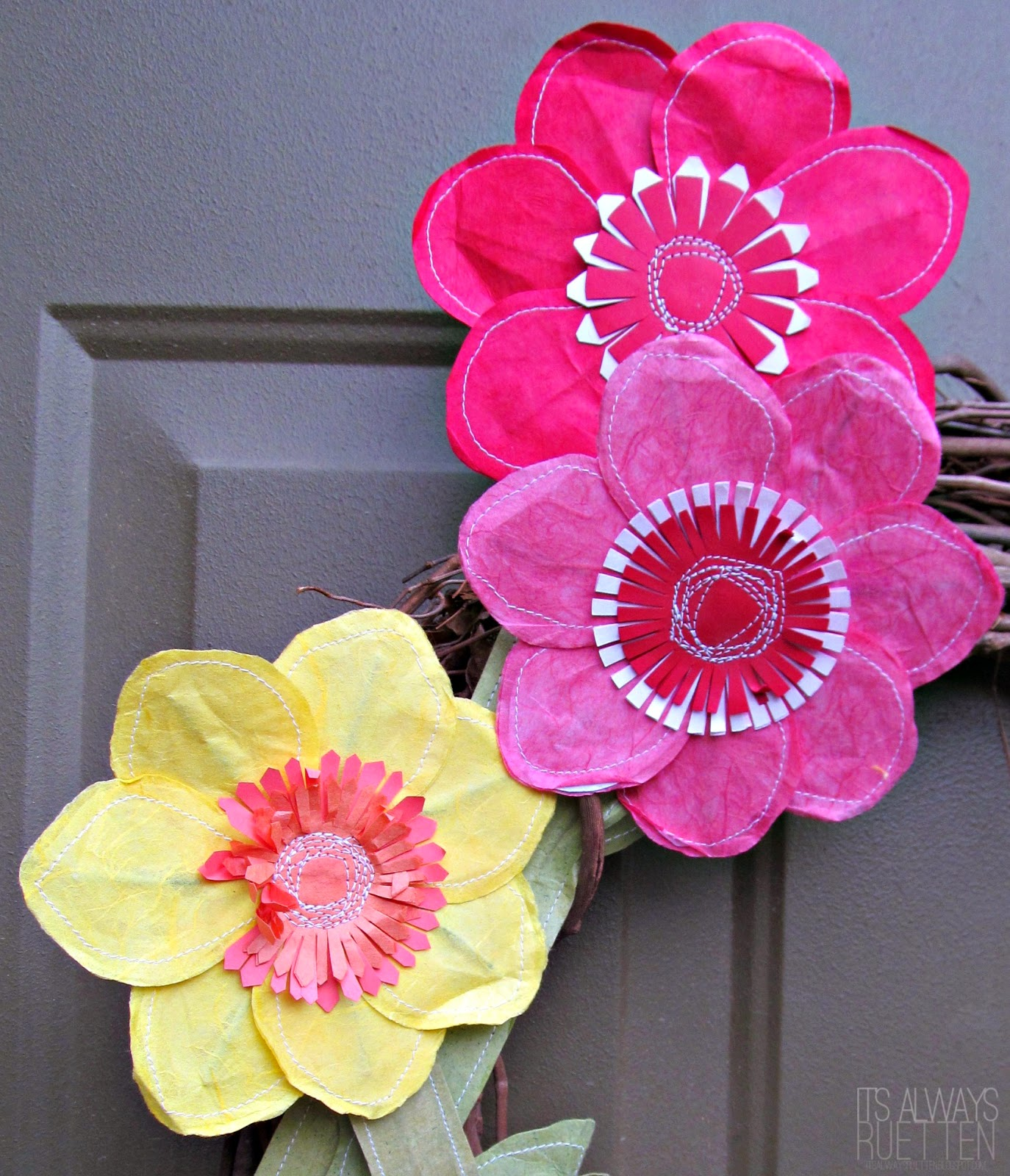 Add a pop of color to your porch with a Spring Wreath for Spring!