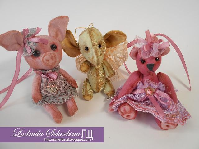 мягкие игрушки свинка, слоник, мишка