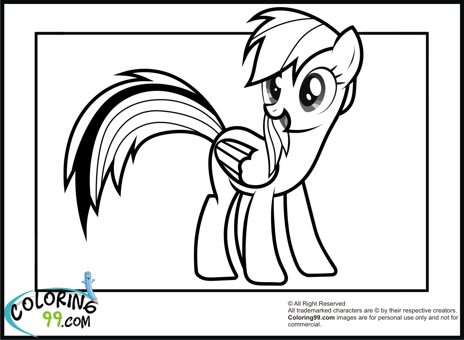 My Little Pony Characters Coloring Pages Rainbow Dash