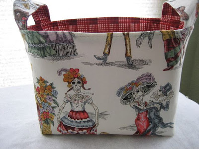 fabric bucket with paseo de los muertos design