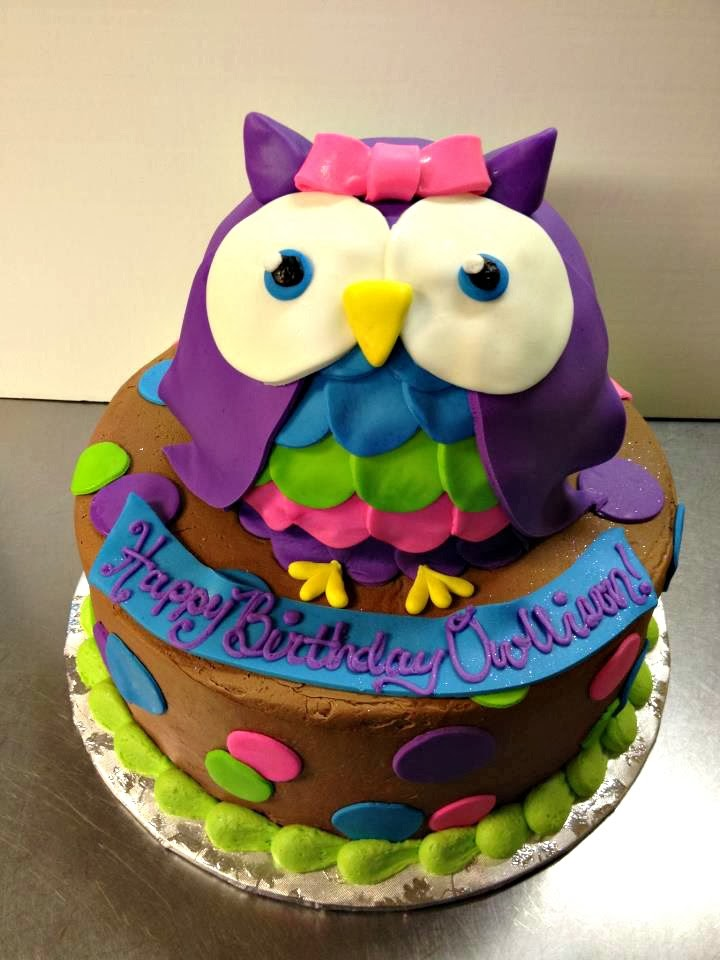 how to make an owl birthday cake