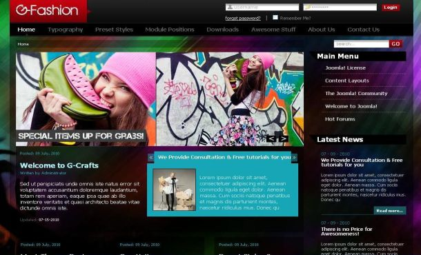 Free Colorful Fashion Grunge Joomla Theme Template