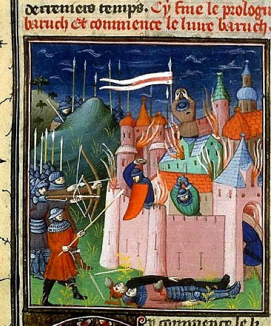 Sítio de Jerusalém. Biblioteca Nacional da França, Français 10, fol 412v.