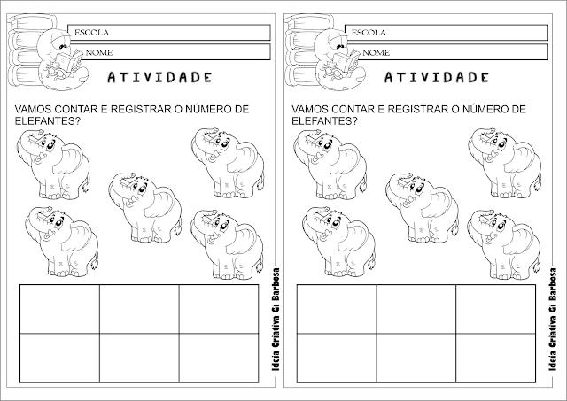 Atividade Contando e Registrando Elefantinho