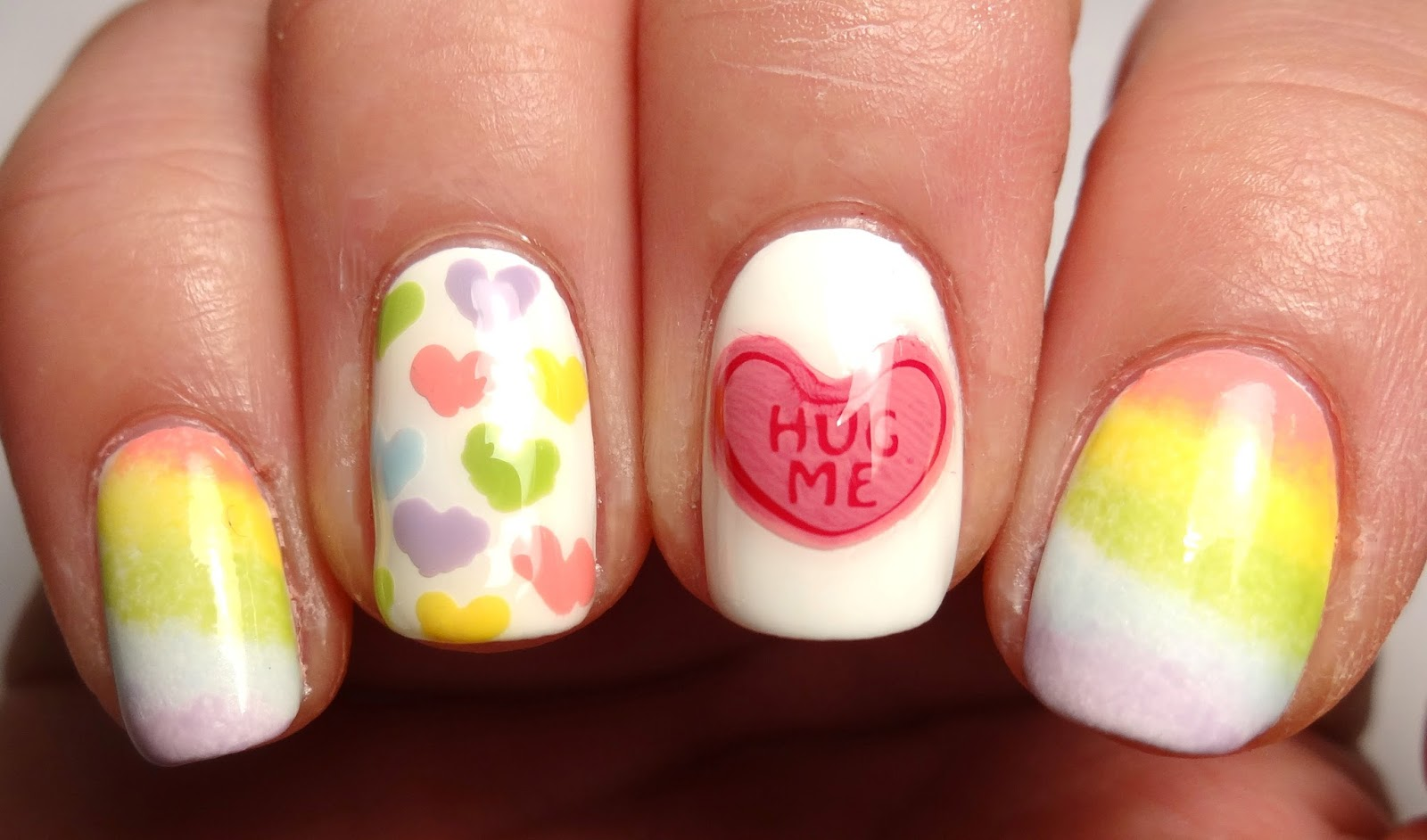 Conversation Heart Stamped Nails