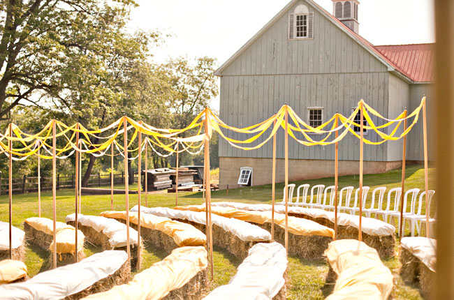 Straw bales wedding outdoor