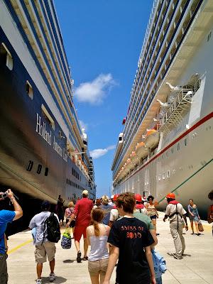 Walking between two huge cruise ships
