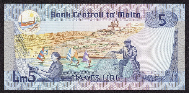Malta money currency 5 Maltese Lira banknote 1986 Windsurfers in the harbor of Mellieha
