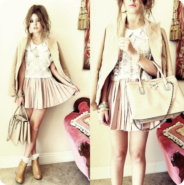 usando saia plissado nos looks de outono/inverno