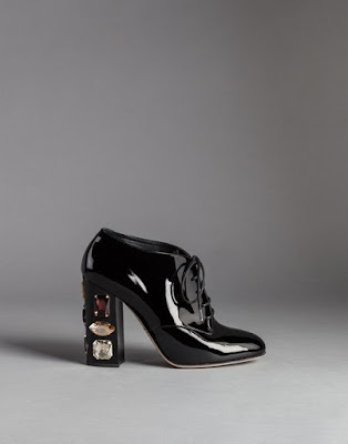 black patent block heel oxfords with embellishments