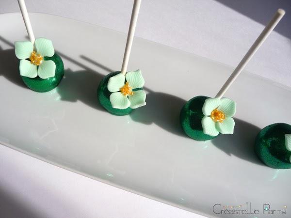 cake pops nutella avec fleur décorative