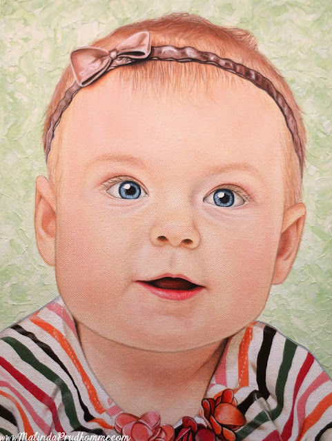 baby, zoey, portrait, baby portrait, baby painting, realism, oil paint, acrylic paint, blue eyes, infant art, baby art, gift, custom art, full time artist, toronto portrait artist, malinda Prudhomme