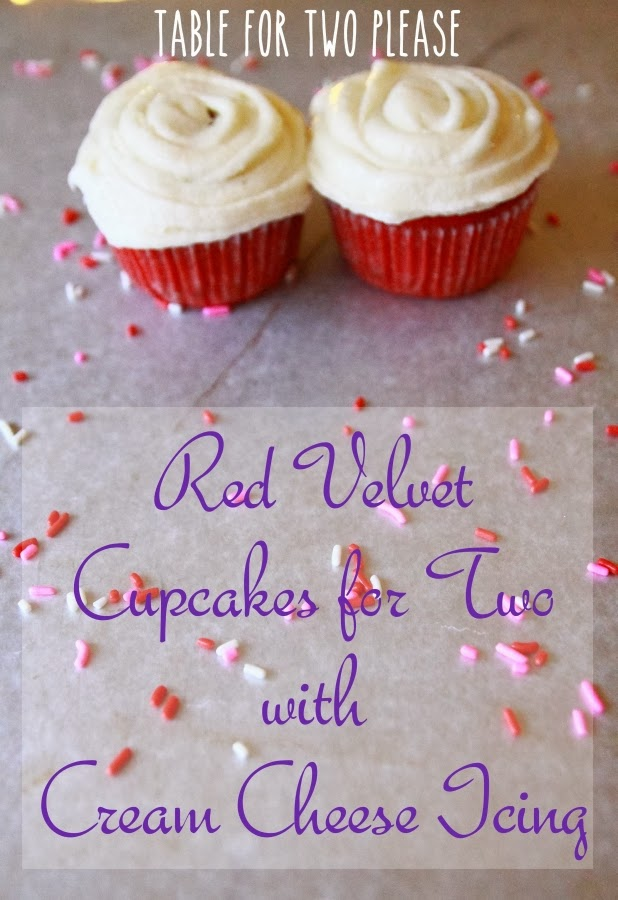 Red Velvet Cupcakes for Two with Cream Cheese Icing | Table for Two, please?