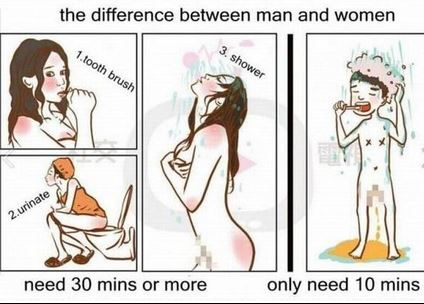 20 Hilarious But True Differences Between Men And Women - On taking a shower