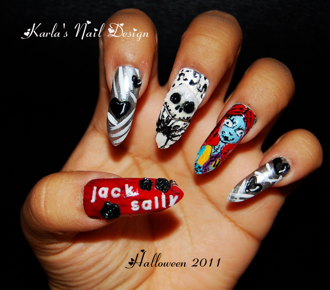 Colorful Nightmare Before Christmas Acrylic Nails Images - Nail Art ...