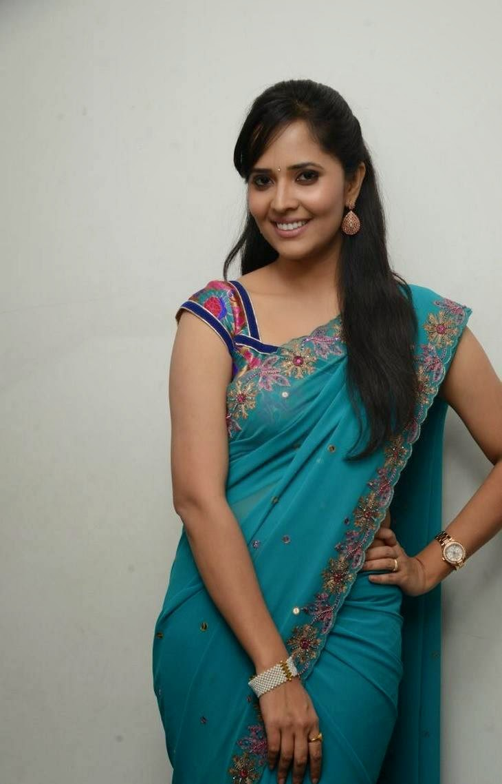Anchor Anasuya Latest Cute Hot Transparent Blue Saree Navel Show Spicy Photos Gallery