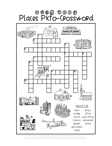 Road Trip Places Picto-Crossword