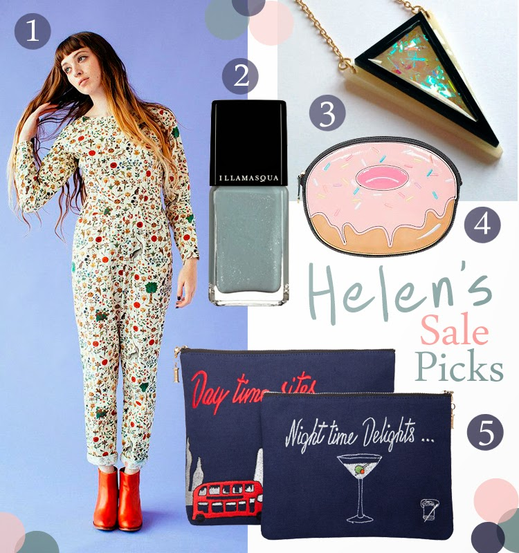 Sale picks, top sale bargains, Samantha Pleet printed jumpsuit, Illamasua raindrop nail polish, Katze Shop deco necklace, New Look Doughnut clutch bag, Sew Lomax day and night clutch bags
