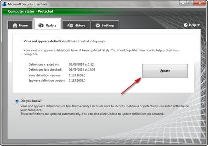 Update MSE antivirus secara online