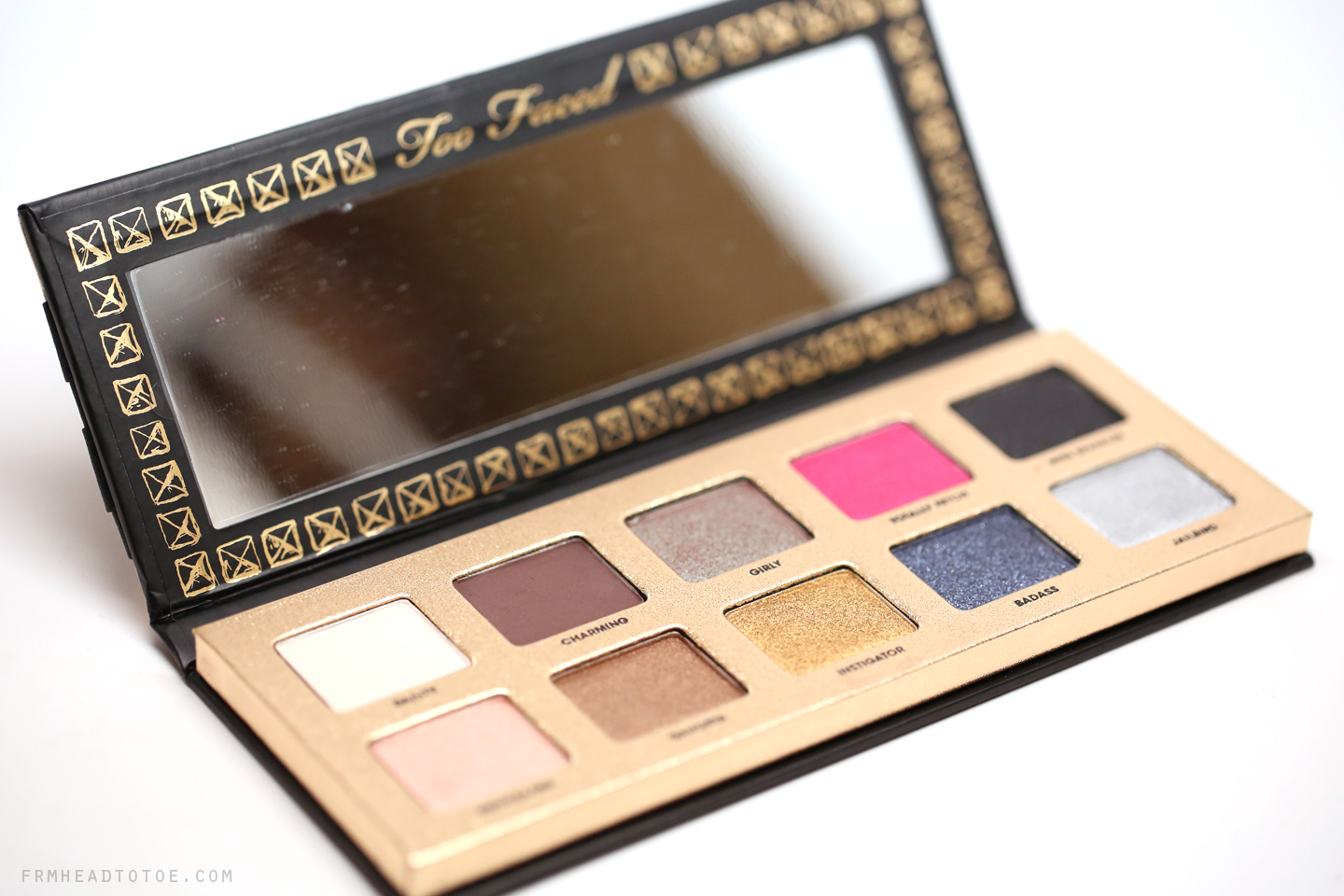 review swatches too faced pretty rebel palette from. Black Bedroom Furniture Sets. Home Design Ideas