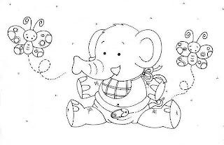 bebe elefante e borboletas