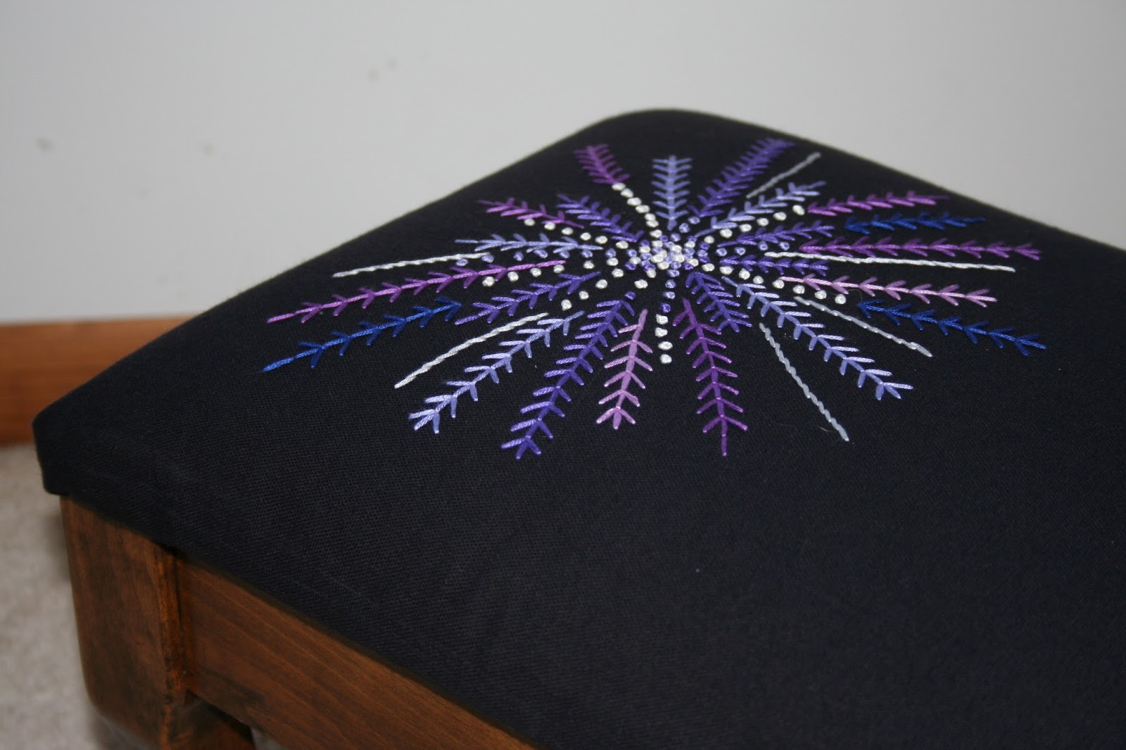 embroidered foot stool