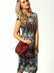 Good Looking Slim Zebra Print Midi Dress Fashion Clubwear