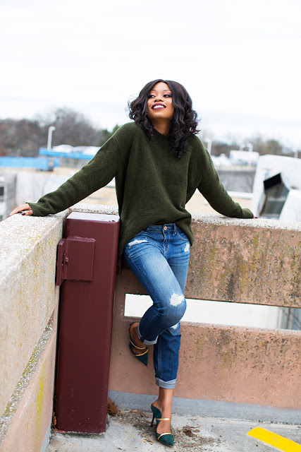 casual outfit, chunky sweater, boyfriend jeans, malone souliers www.jadore-fashion.com