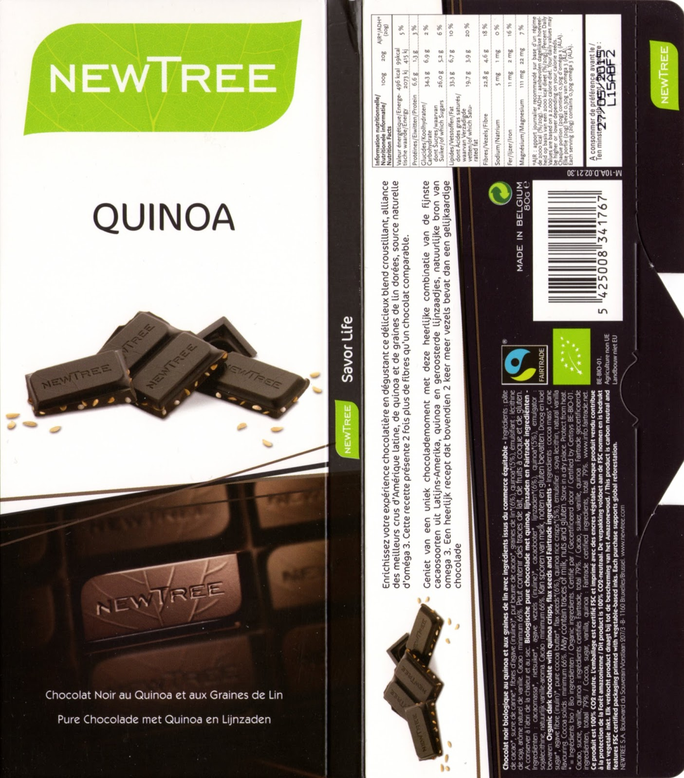 tablette de chocolat noir gourmand newtree quinoa noir 66