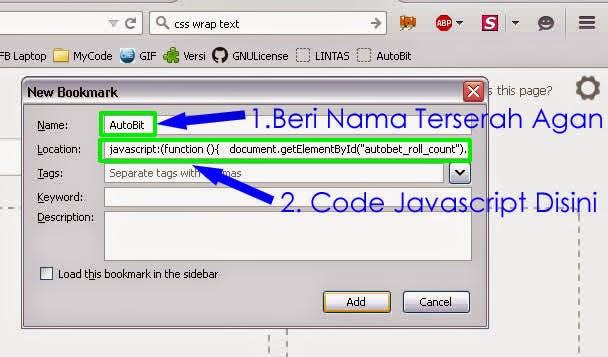 Code Script pada Bookmark