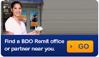 BDO Remittance Service. Click to find a nearby remittance office.