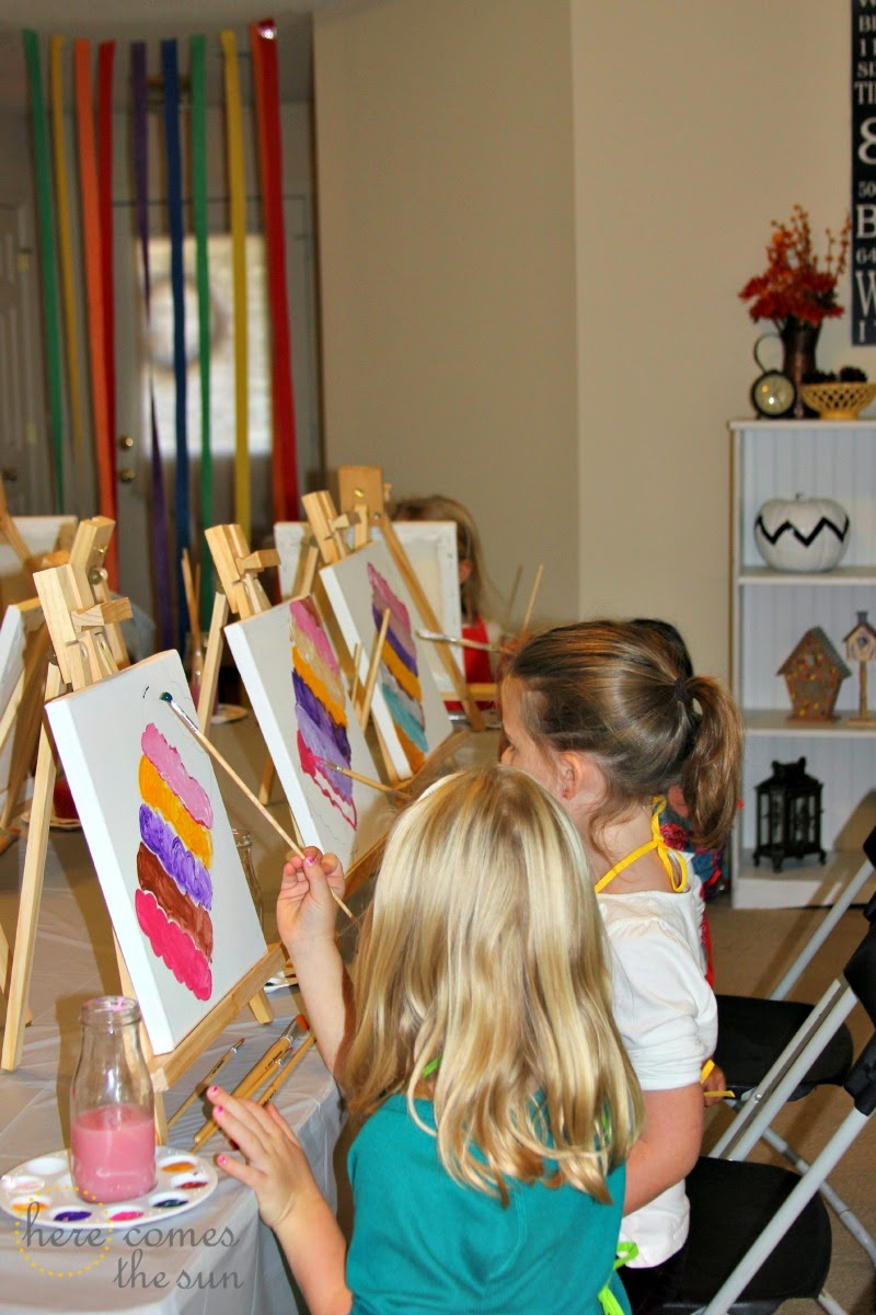 How to host an art birthday party here comes the sun for Painting ideas for 4 year olds
