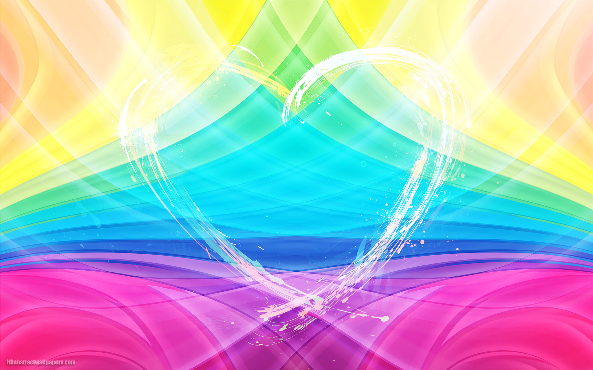 Colorful Abstract Wallpaper With Big Love Heart Made Of Lights