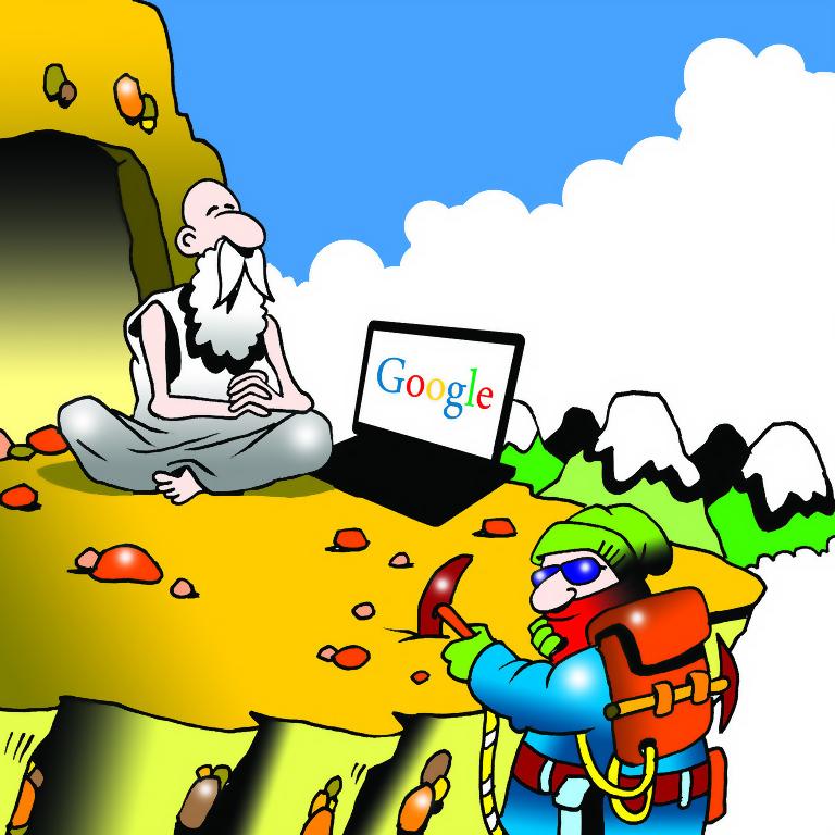 Den moderne vise eremit foran sin hule, med computer og Google