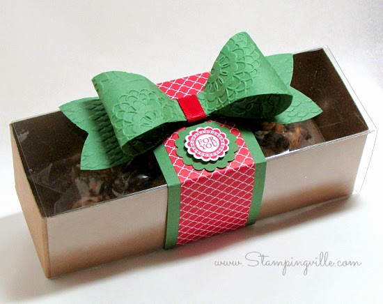Treat gift box decorated for Christmas #papercrafts #StampinUp #Stampingville