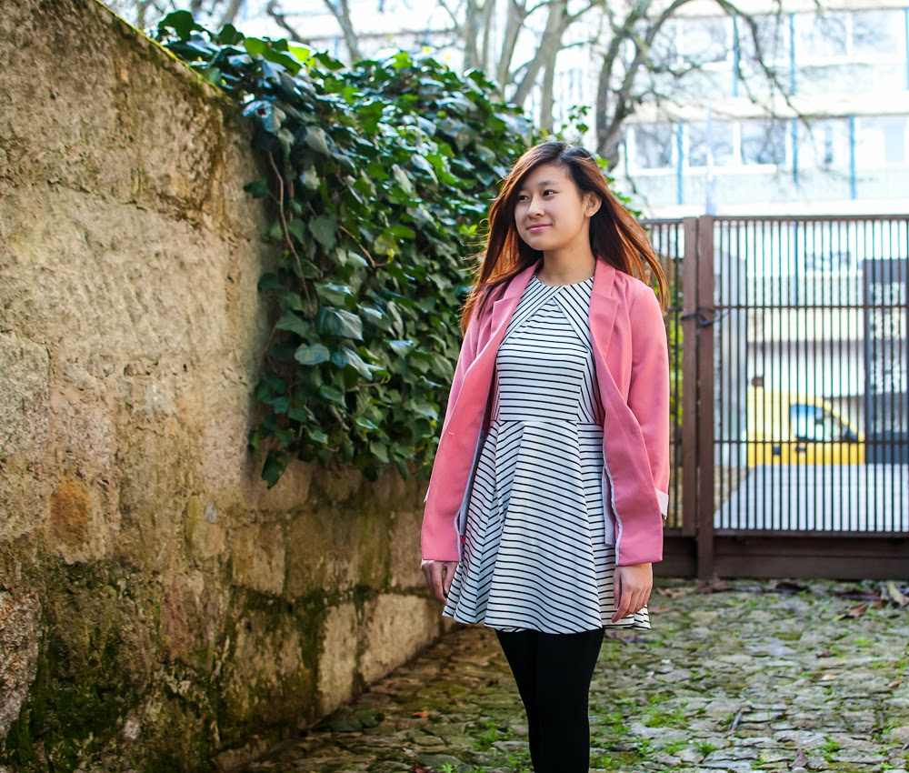 pink blazer striped dress outfit