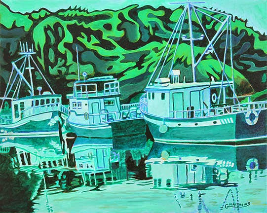 Fishing Boats Reflection - Oil on Canvas
