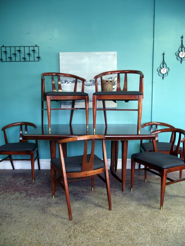 Ground Mid Century Danish Modern Dining Set Table W 6 Chairs
