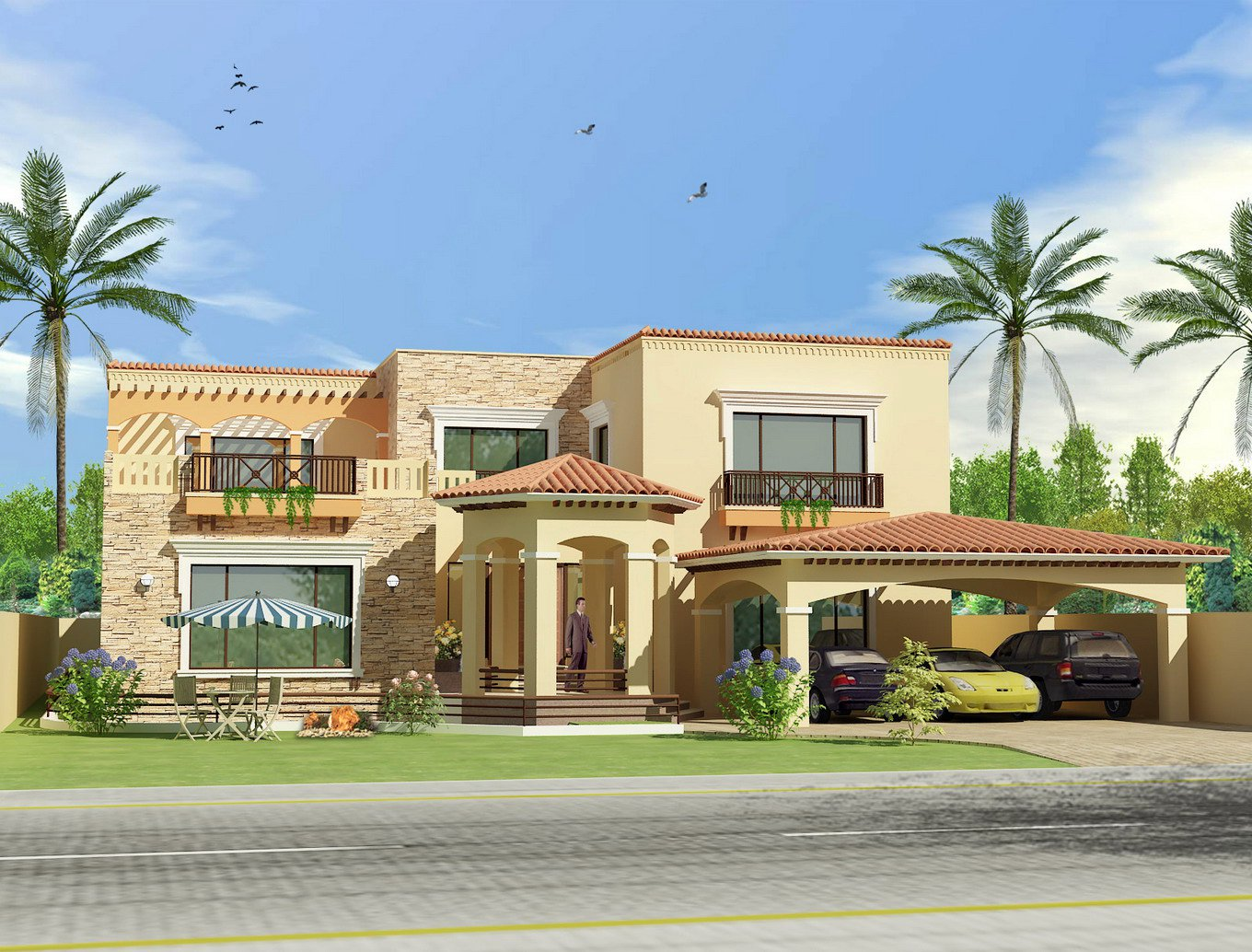 3d front pakistan front elevation of house for New homes design pakistan