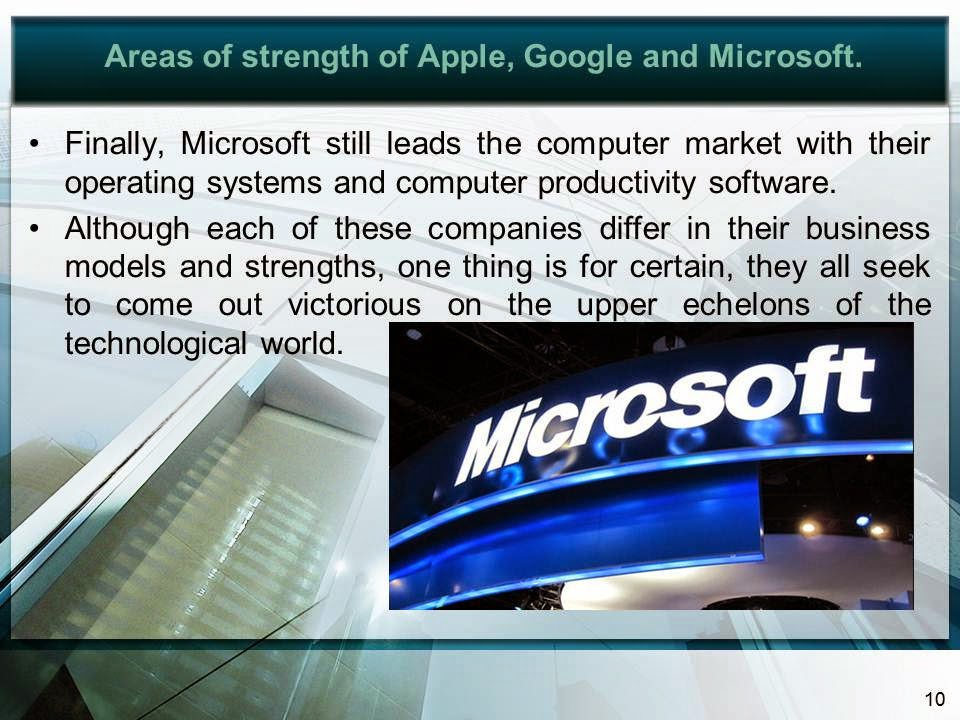 1 compare the business models and areas of strength of apple google and microsoft