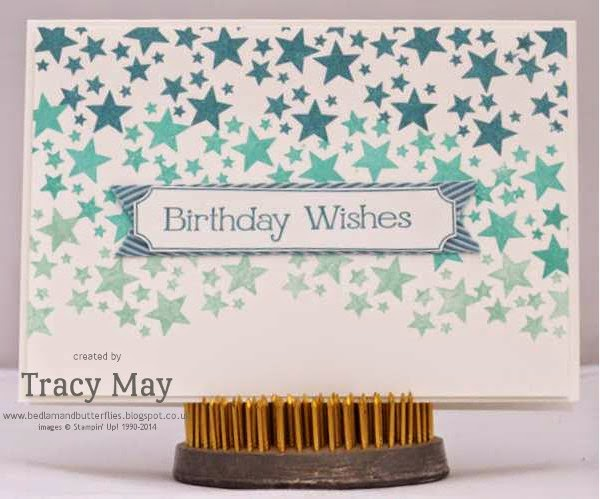 stampin up uk independent demonstrator Tracy May ombre stars using #PLxSU point and click