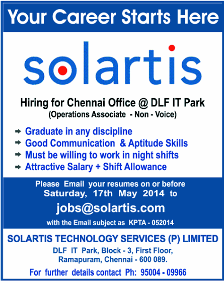 solartis job openings in chennai at dlf it park for
