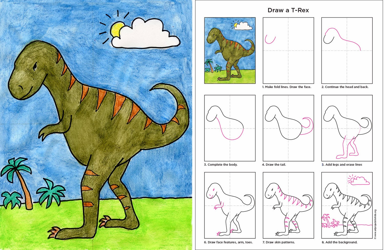 how to draw a cartoon t rex