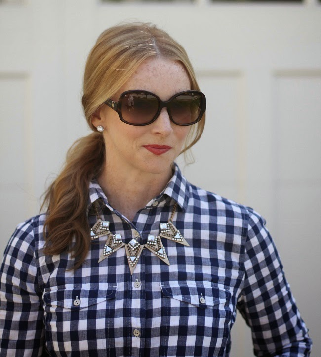 jcrew plaid shirt, baublebar necklace