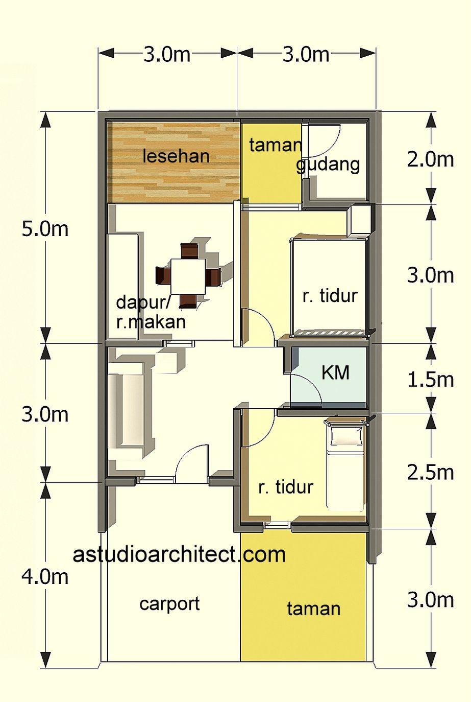 contoh denah rumah luas 72 menarik