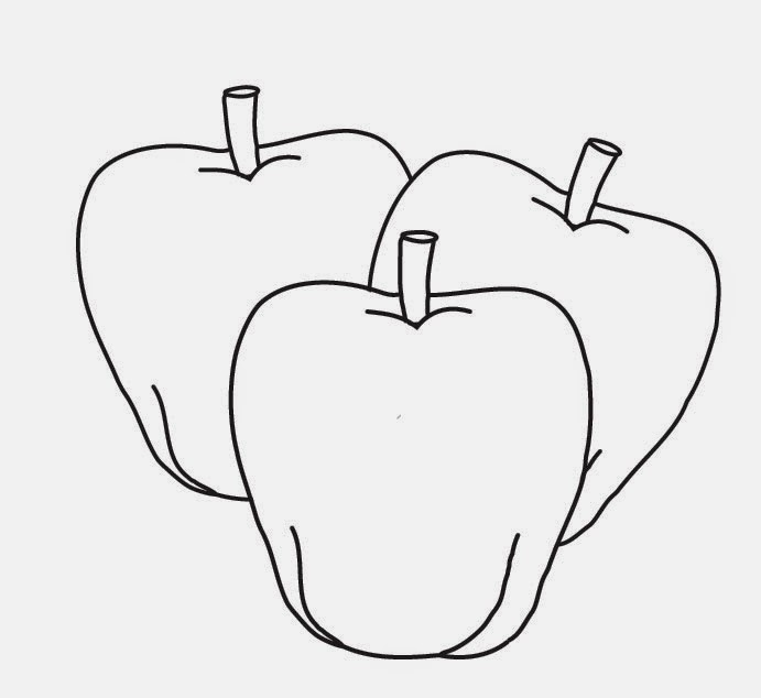 Latihan gambar mewarnai buah apel untuk anak