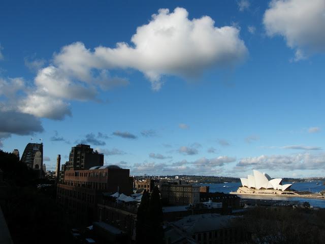 View over The Rocks Sydney Harbour Bridge Sydney Opera House