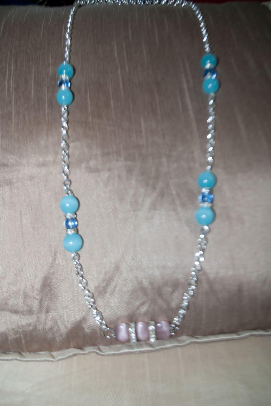 Collar largo con cadena y cristal celeste y rosa ref. CL,205  8 \u20ac